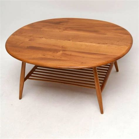 retro large solid elm coffee table by ercol vintage