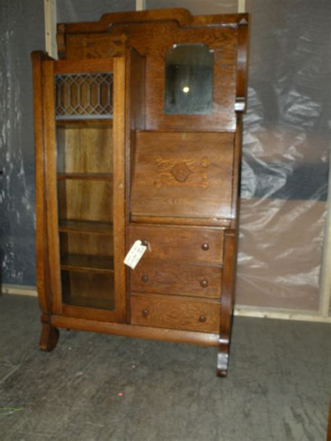 Antique oak drop front secretary desk side by side bookcase display cabinet   Secretary Desks