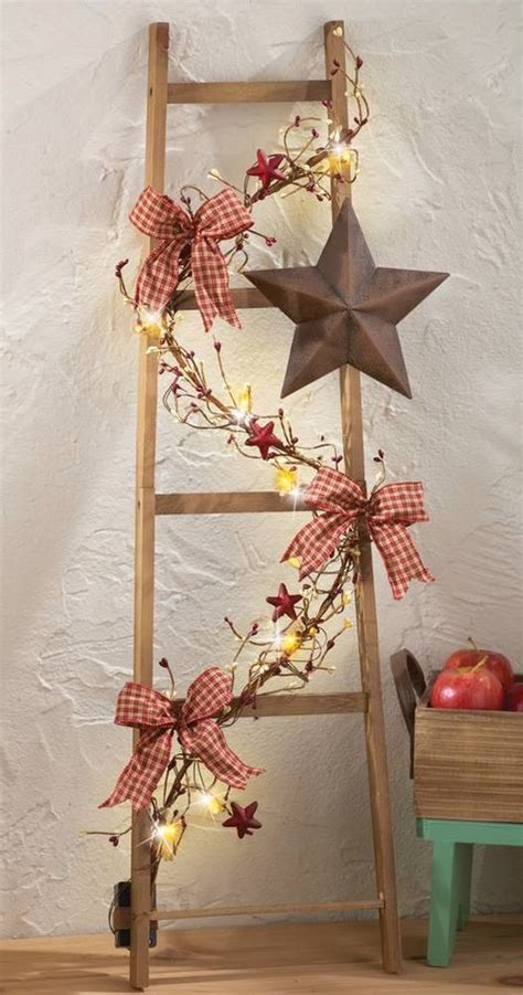 rustic star decorations for home rustic lighted country ladder w berries barn star