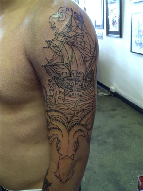 kraken ship tattoo pennywhistles and moonpies live to work work to live