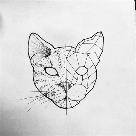 drawn cat half pencil and in color drawn cat half