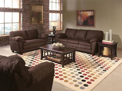 brown micro suede contemporary living room w wooden legs