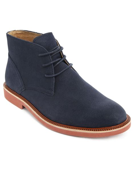 polo ralph navy torrington suede derby shoes in