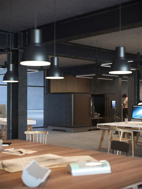 interior rendering  factory workshop concept lunas