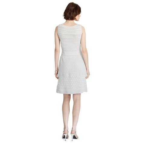 white knit dress lyst ralph pointelle knit metallic dress in white