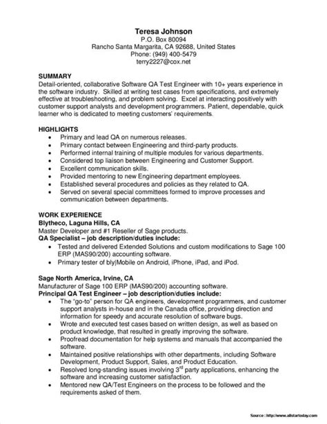 Qa Tester Resume by Sle Resume For Software Tester Fresher Resume