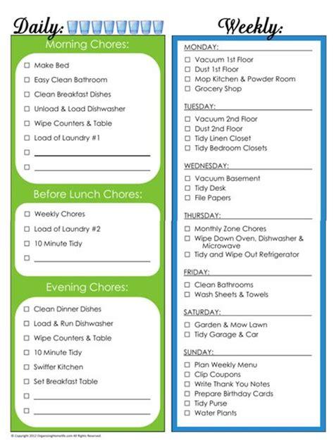 Printable List Of Household Chores