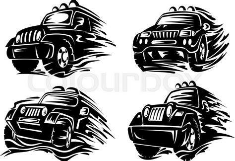 jeep road silhouette jeep or crossover silhouettes driving on muddy roads