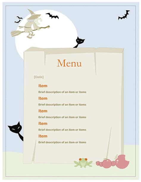 free word templates halloween party menu template