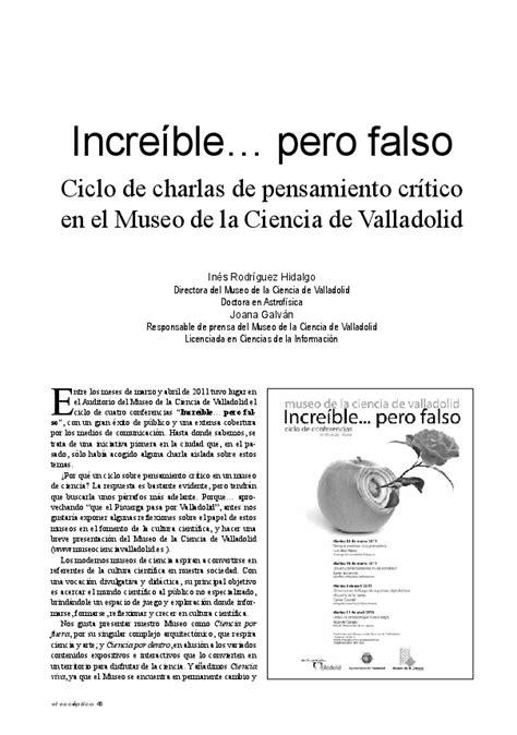 15 articulos catedra base libro e pdf descargar gratis incre 237 ble pero falso ciclo de charlas de pensamiento cr 237 tico en el museo de la ciencia de