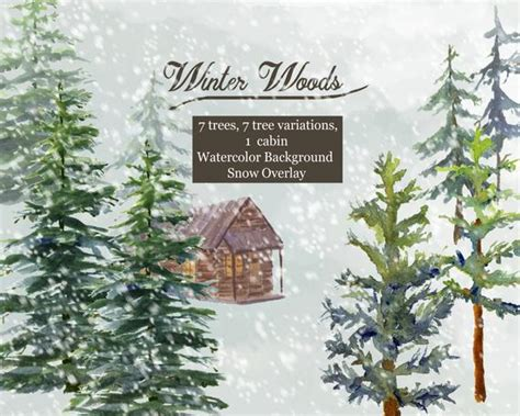 winter woods watercolor clip pine trees snow log cabin watercolor background winter woods watercolor clip pine trees snow log cabin