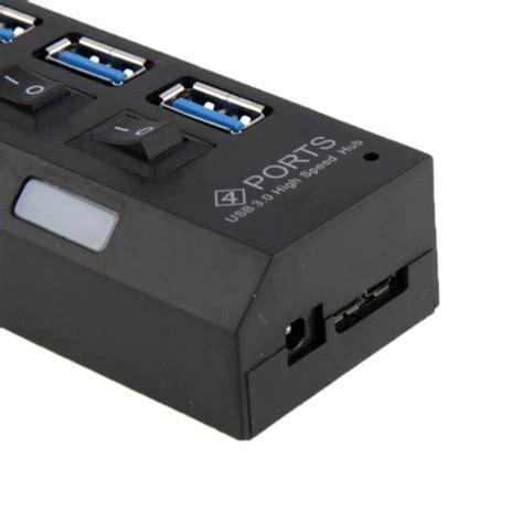 5gbps 4 Port Usb 3 0 Hub Black 4 ports usb 3 0 hub speed 5gbps and play