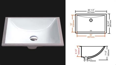 Agfl  Undermount Ceramic Vanity Sink Rectangular White