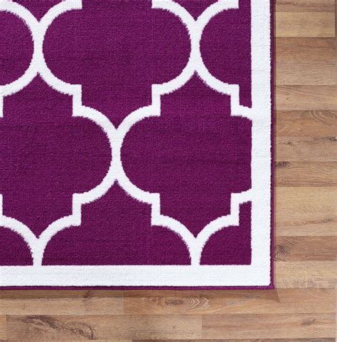 Large Modern Geometric Moroccan Trellis Thin Carpet Purple Modern Purple Rug