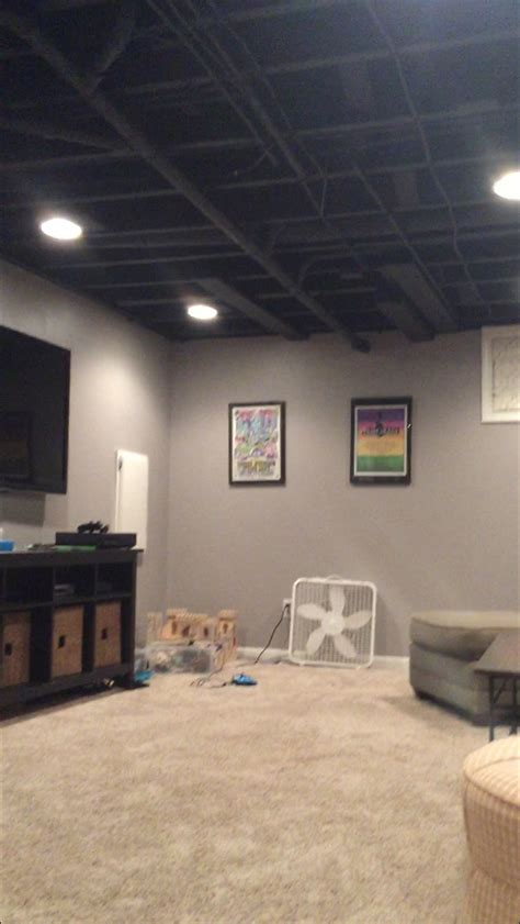 paint for exposed ceiling in basement sherwin williams caviar flat two coats basement