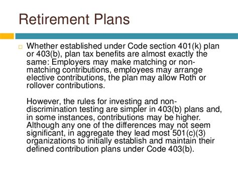 code section 401 the difference between 401k and 403b retirement plans