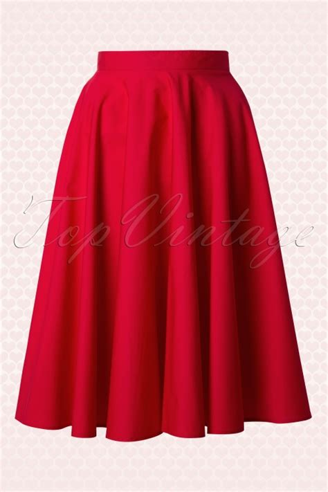 red swing skirt 50s paula swing skirt in red