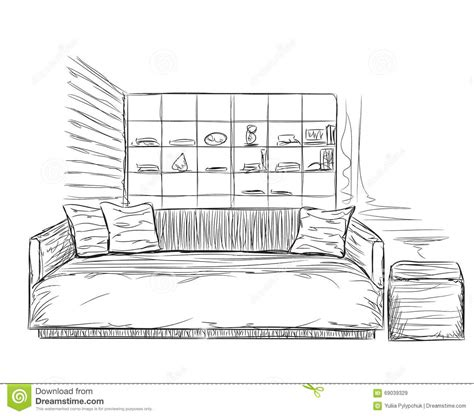 Room Interior Sketch Chair Sofa by Modern Interior Room Sketch Sofa And Furniture Stock