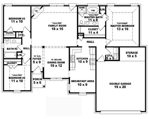 4 bedroom house plans 1 story 653797 one story 3 bedroom 2 bath traditional