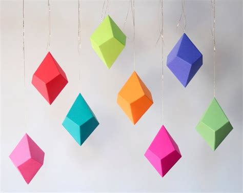 How To Make Geometric Shapes With Paper - diy geometric paper ornaments cozy bliss