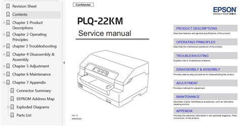reset printer epson plq 20 epson plq 22km printer service manual exploded diagram