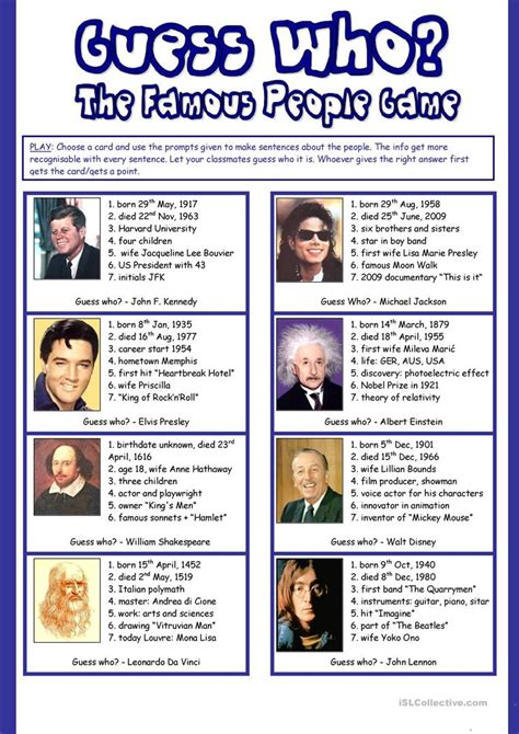 biography english lesson guess who the famous people game speaking about