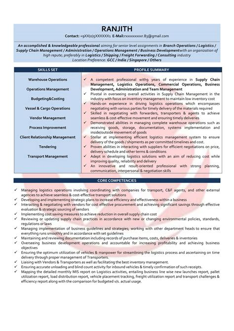 Resume Format For Manager Operations by Operations Manager Sle Resumes Resume Format