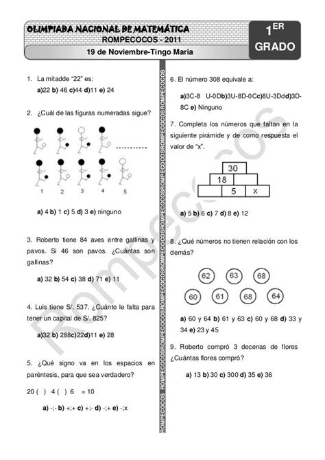 OLIMPIADA NACIONAL DE MATEMÁTICA… | matemáticas | English
