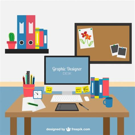 designer desk graphic designer desk vector premium