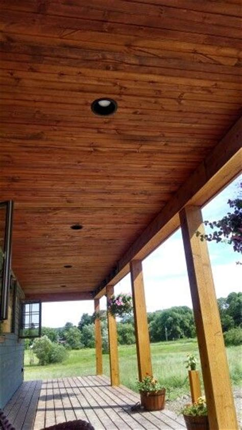 we stained our covered porch pine ceiling it