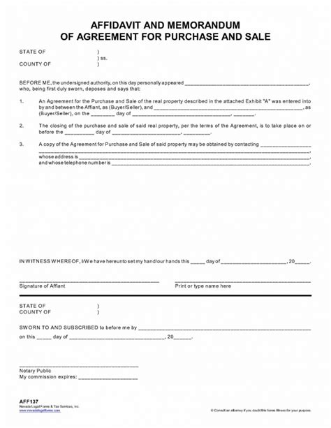 sle of affidavit affidavit and memorandum of agreement for purchase and