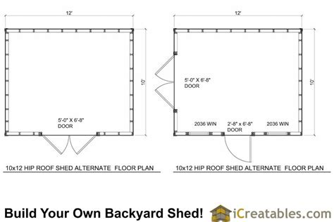 floor plans for sheds 10x12 hip roof shed plans