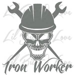 Iron Man Wall Stickers iron worker skull in hard hat with crossed spud wrenches