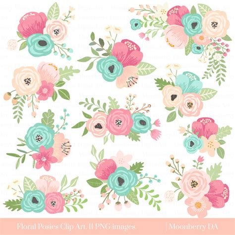 floral wedding clipart flower clipart floral posies clipart wedding