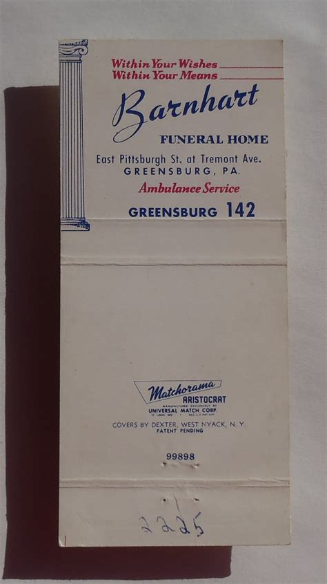 barnhart funeral home 28 images 1950s matchbook