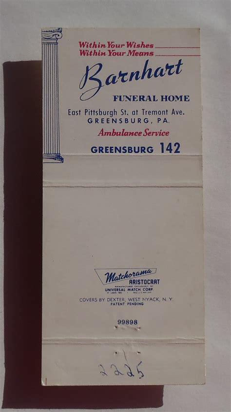 1950s matchbook barnhart funeral home maurice c barnhart
