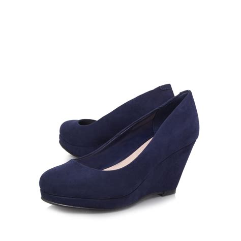 navy blue wedge heel shoes qu heel