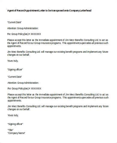 insurance broker appointment letter exle sle appointment letter in doc 12 exles in word