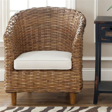 Indoor Wicker Furniture by Safavieh St Indoor Wicker Honey Brown Barrel Chair
