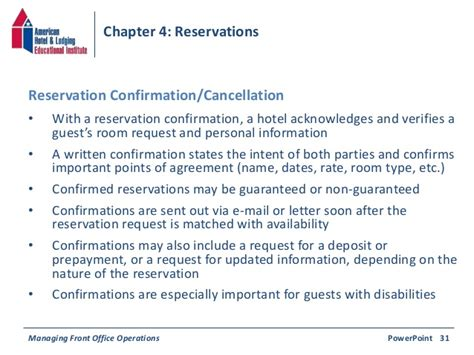 Reservation Confirmation Letter Sle Chapter 4 Reservations