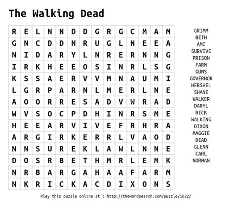 Download Word Search on The Walking Dead