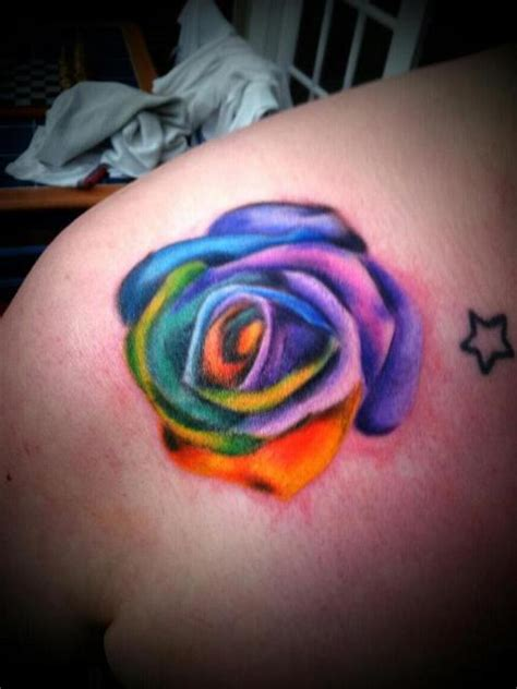 colourful rose tattoo rainbow picture at checkoutmyink