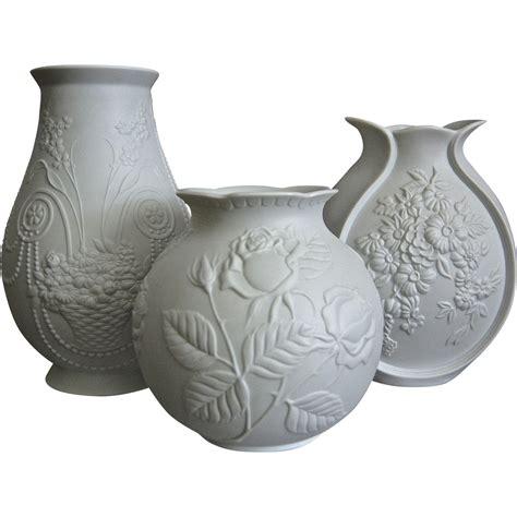 kaiser porcelain matte white vase trio 3 circa 1970 from