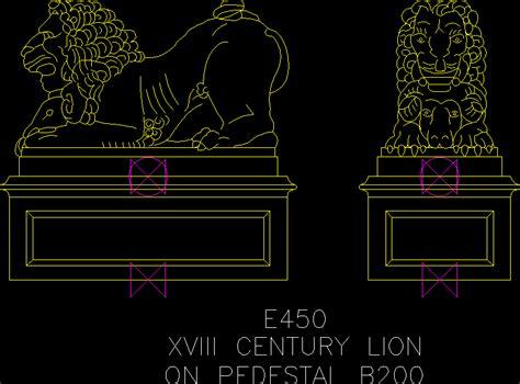 lion sculpture  pedestal  century dwg block