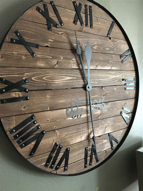rustic clock 24 oversized wall clock farmhouse clock barn wood wall