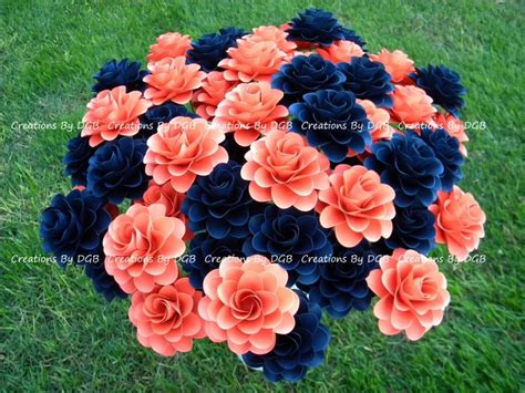 coral flowers coral navy blue wedding paper flowers stemmed coral and navy blue