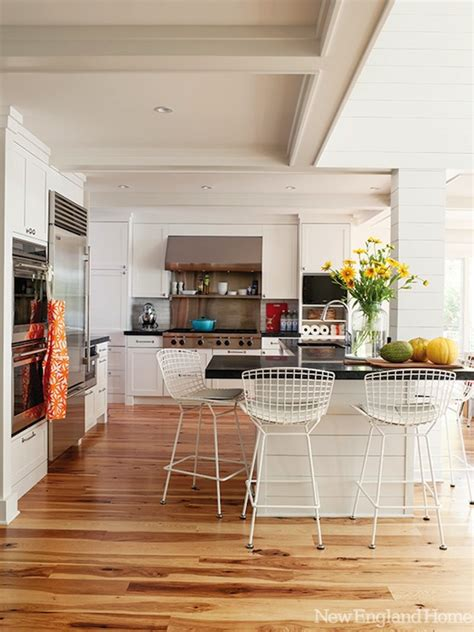 hickory floors with white cabinets shiplap wall paneling design ideas