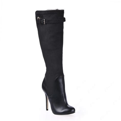 charming black stiletto heels knee high boots shoespie