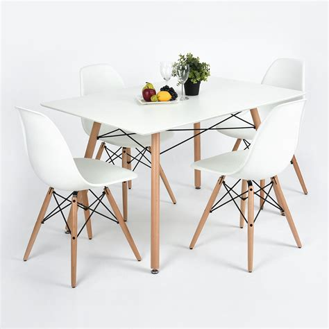 120cm dining table 4 chairs home fashion furniture white
