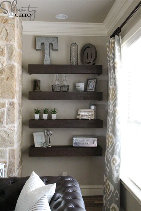 Shelves For Living Room | diy floating shelves for my living room shanty 2 chic